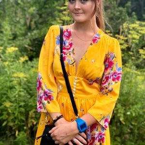Free people yellow floral maxi duster